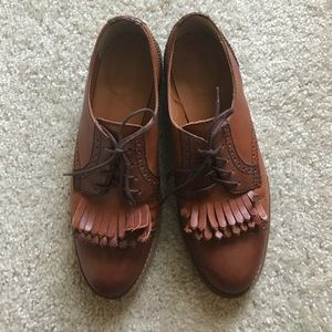 Madewell brown two tone fringe oxfords, size 7